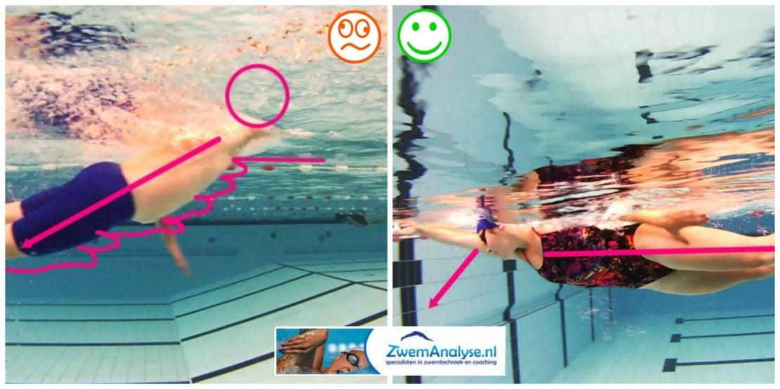 Ligging zwemmen en zinkende benen